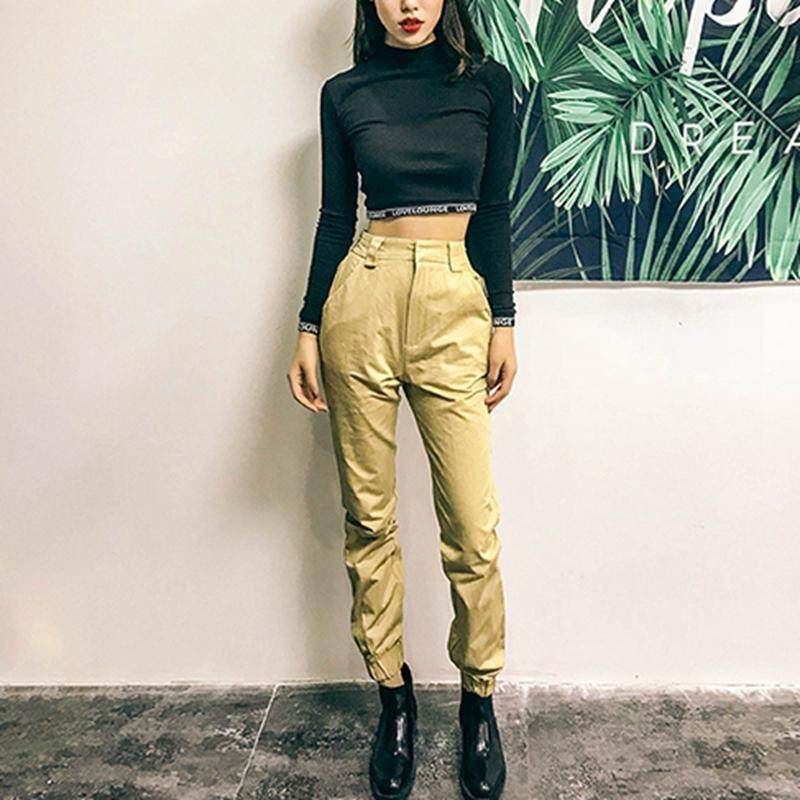 08b640aefd2 High waist pants camouflage loose joggers women army harem long pants  streetwear punk black cargo pants