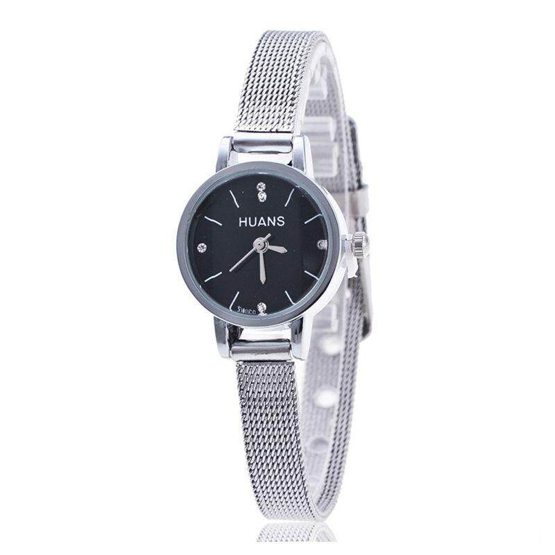 HUANS women watch famous brands Casual Women Ladies Silver Stainless Steel Mesh Band Wrist Watches black Malaysia