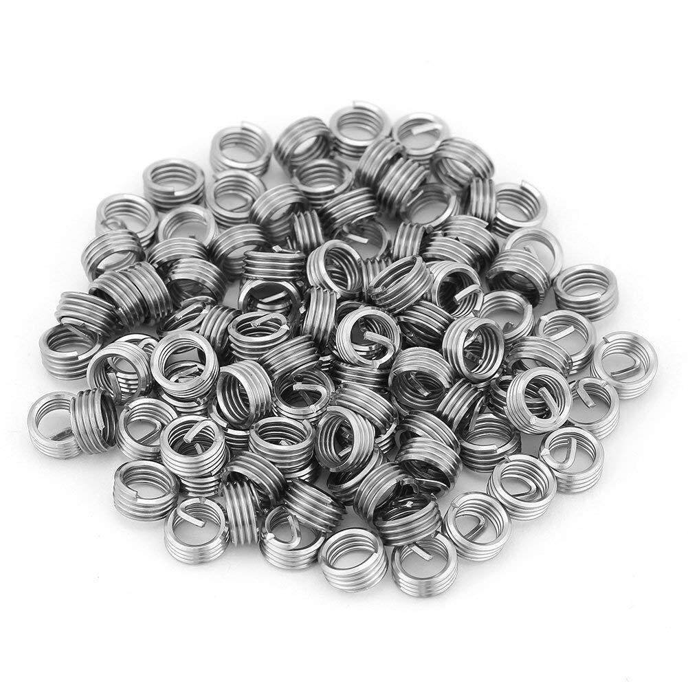 Burling 100Pcs M6 Wire Thread Inserts, Stainless Steel Coiled Wire Helical Screw Thread Inserts, Helical Wire Insert Thread Repair Insert Assortment (M6 x 1.0 x 1D Length)