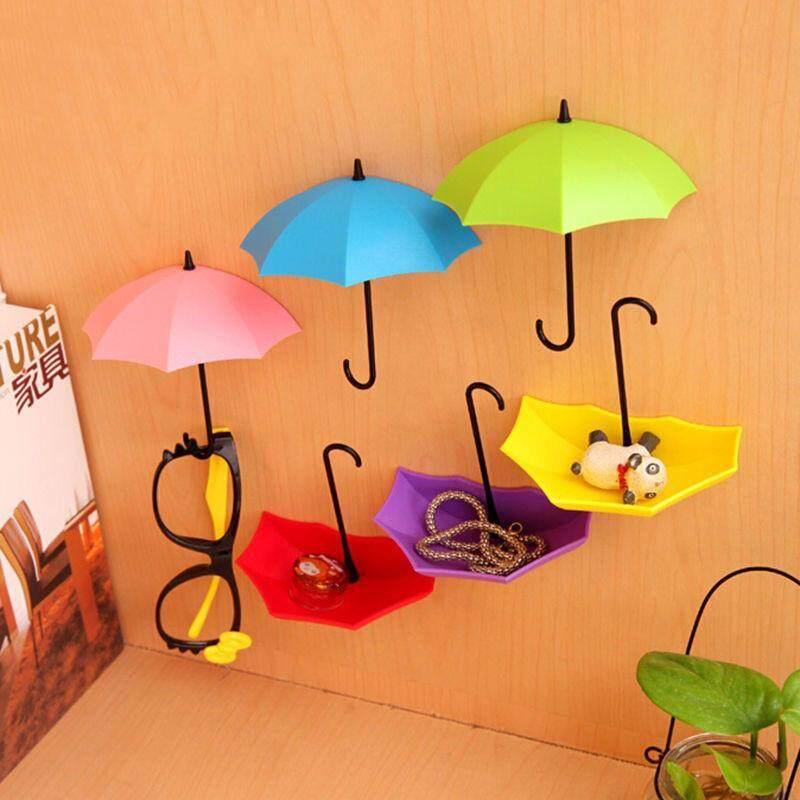 3Pcs Colorful Umbrella Wall Hook Key Hair Pin Holder Organizer Decorative (random color)