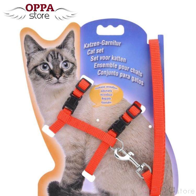 Pet Safety Adjustable Cat Kitten Nylon Lead Leash Harnesses Set Safety Belt Rope (red) By Oppa Store.