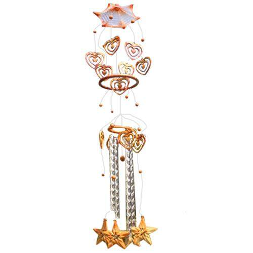 1 Wood Color Metal Home Decorative Metal Pipe Grain Plane Five Point Star Wind Bell / Door / Craft Gift Pendant Total Length: 90cm By Shakeshake.