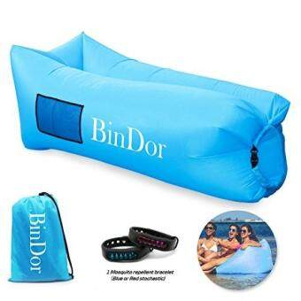 Diskaun Bindor Inflatable Lounger Air Sofa Lounge Inflatable Hammock Sleeping Couch Pool Float Bag Chair Lazy Bed for Travelling, Camping, Hiking,Pool, ...