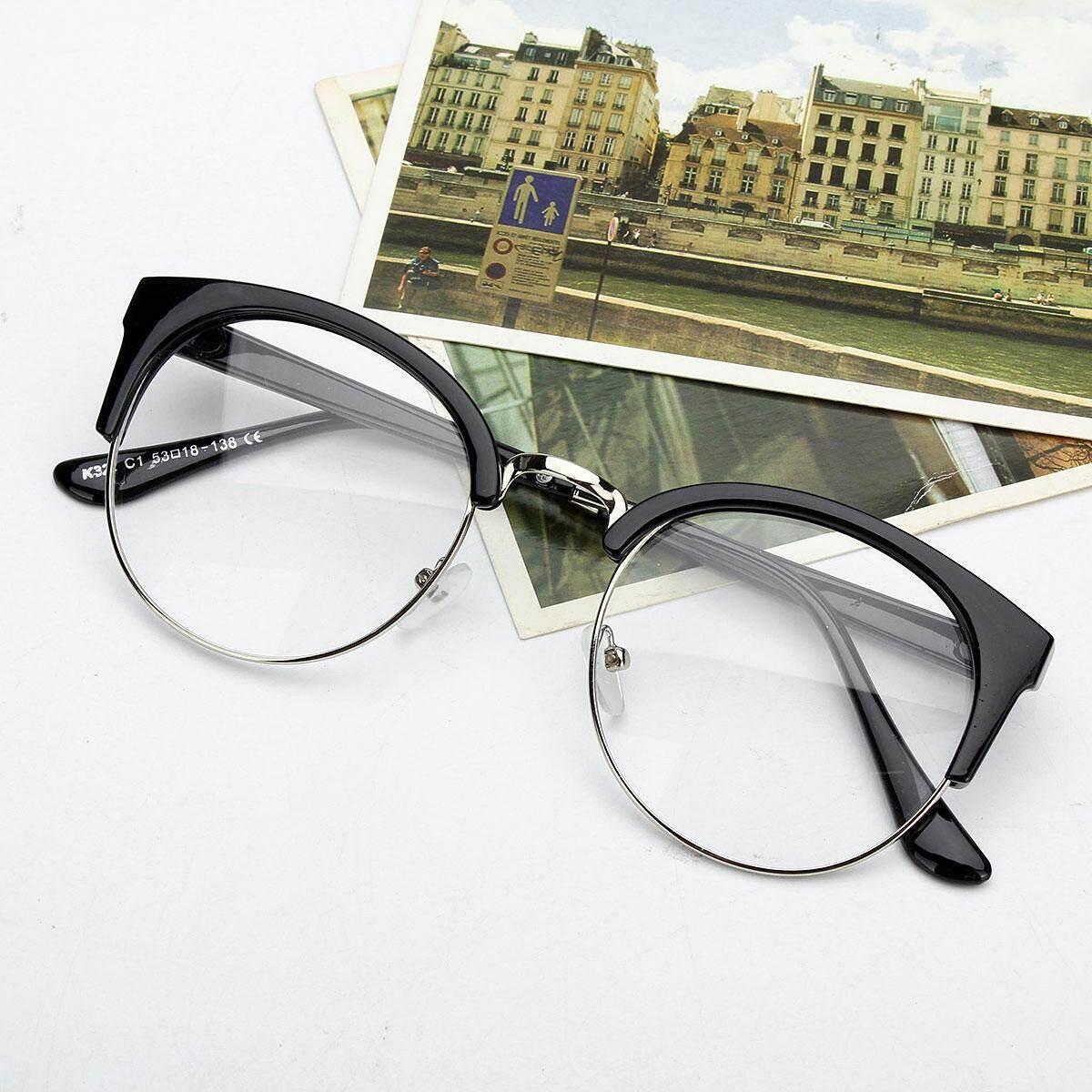 e16440eab5cf Retro Style Women Men Nerd Glasses Clear Lens Eyewear Round Metal Frame  Glasses  bright black