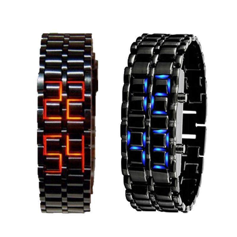 2x Lava Style Black Bracelet Red / Blue LED Watch Malaysia
