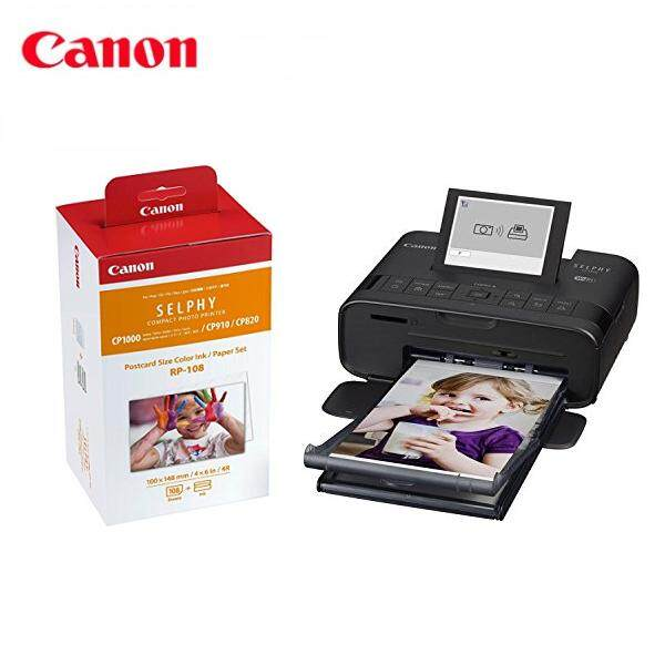 Canon Selphy CP1300 Compact Photo Printer + RP-108 Ink/Paper Black
