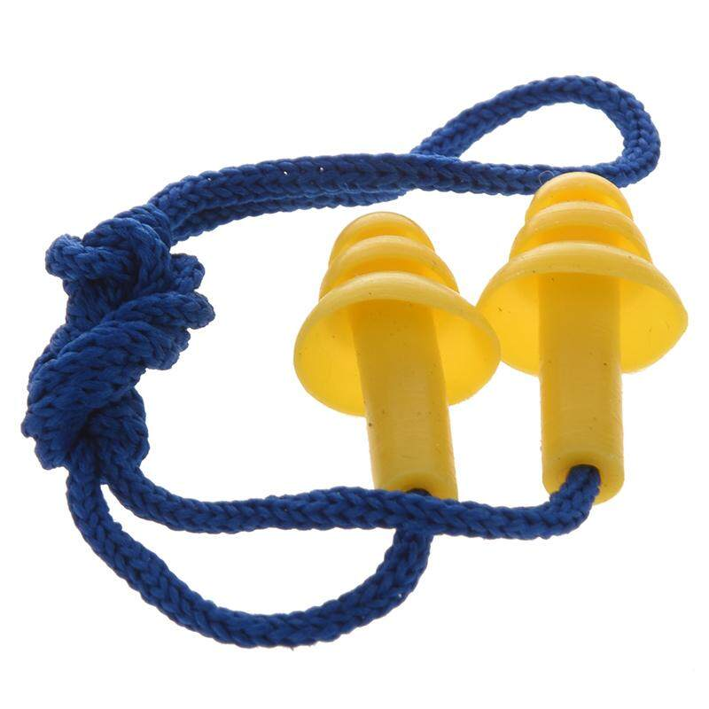 Quiet Reusable Blue Nylon String Yellow Silicone Earplugs