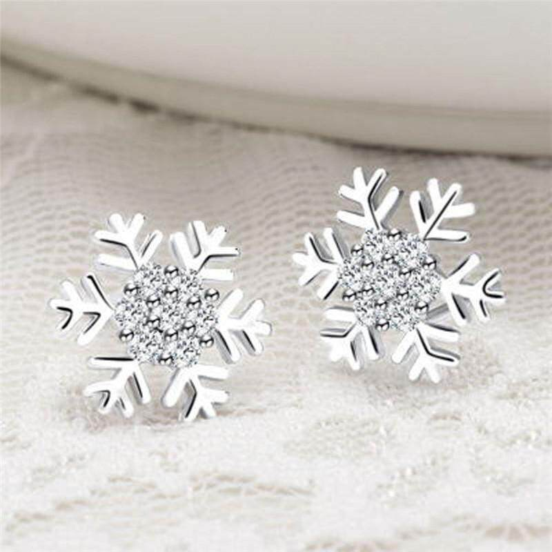 925 Sterling Rhinestones Snowflake Stud Earrings Classic Christmas By Andrewxdi.