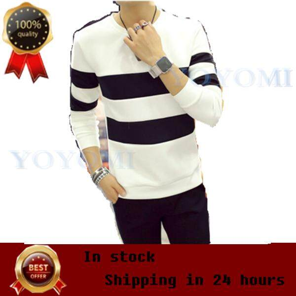02bc0d8af82 YOYOMI Fashion Long Sleeve Black and White Stripes Men's T-shirt Casual  Shirt for Men