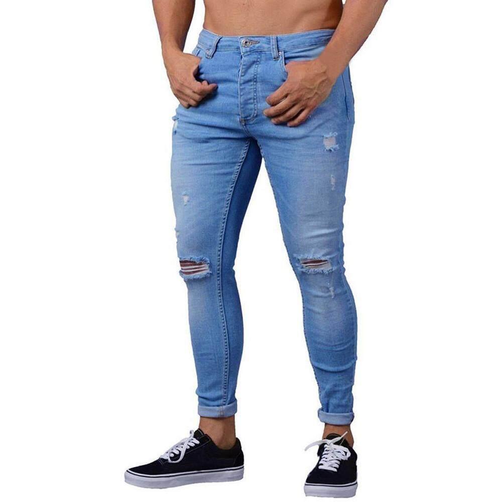 555b3aa1f64 Rainny Mens Skinny Stretch Denim Pants Distressed Ripped Freyed Slim Fit  Jeans Trousers