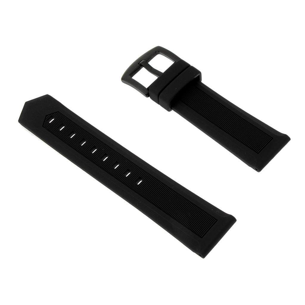 GuangquanStrade Black Silicone Rubber Sport Replacement Watch Band Strap 24mm Black Malaysia
