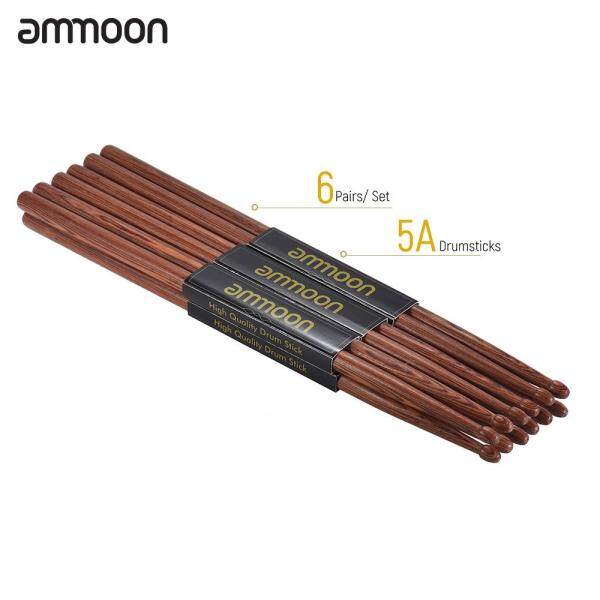 【Hot Sale】ammoon 6 Pair of 5A Wooden Drumsticks Drum Sticks Mahogany Wood Drum Set Accessories Malaysia