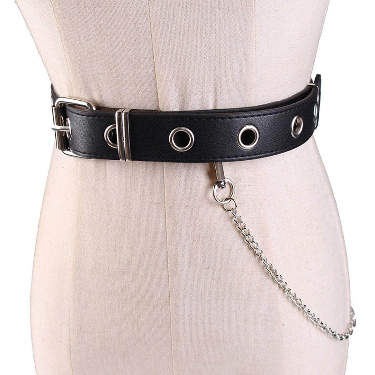 Waist Belt Chain Punk Hip-hop Trendy Women Belts Ladies Fashion Cowboy Steel Pin Buckle