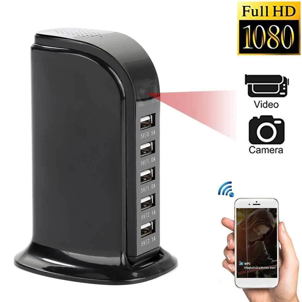 Dueplay HD 1080P Phone Charging Socket Hide Camera Wifi Wireless DVR Recorder 5 USB Ports Socket