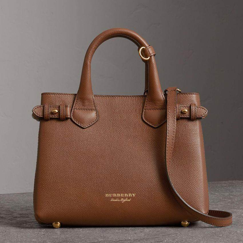 Burberry Small Banner In Leather And House Check Brown Tan