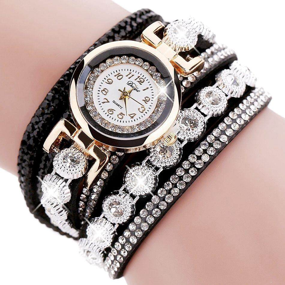 Duoya Brand Women Bracelet Luxury Wrist Watch For Women Watch Crystal Round Dial Dress Gold Ladies Leather Clock Watch, D095 Black Malaysia
