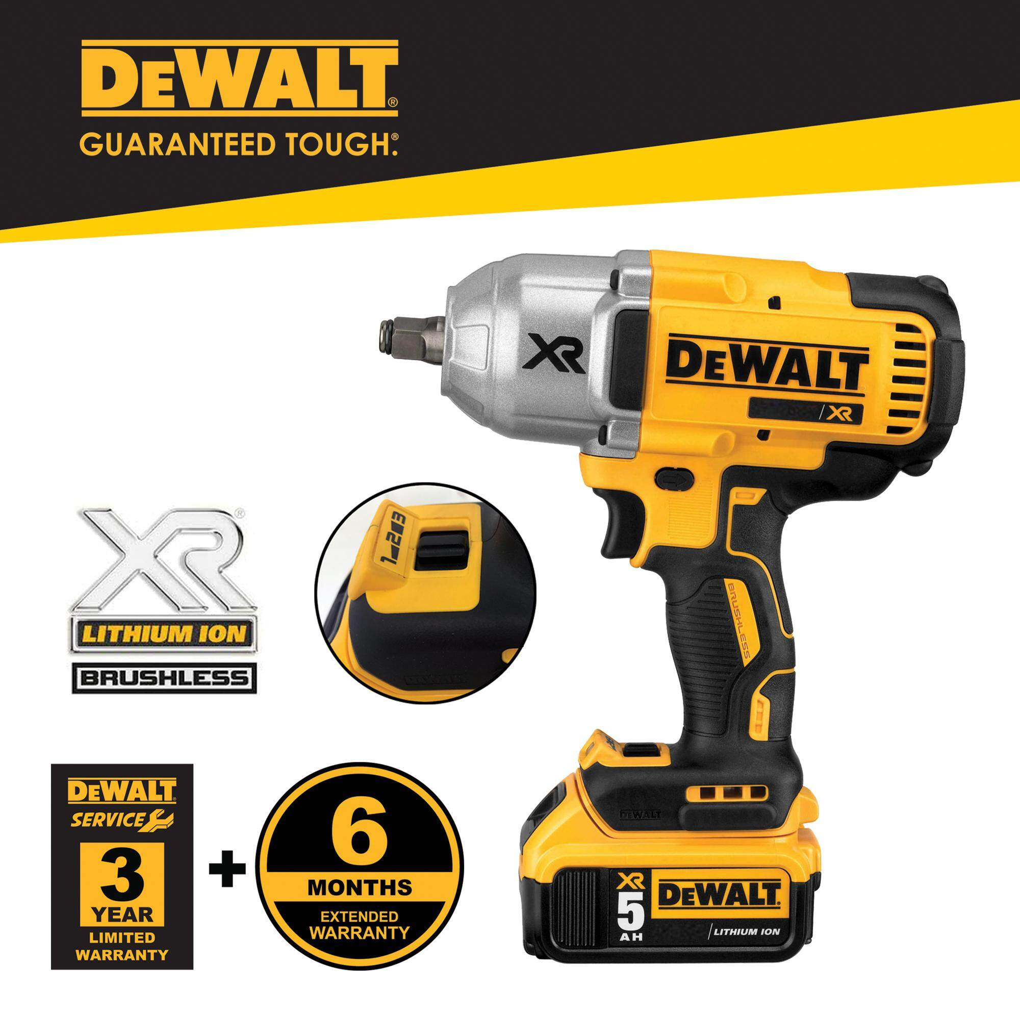 Dewalt DCF899HP2-KR 18V Cordless 1/2 Brushless High Torque Impact Wrench ( Hog Ring ) With 2pcs Batteries & 1pc Charger ( DCF899HP2 / DCF899 )