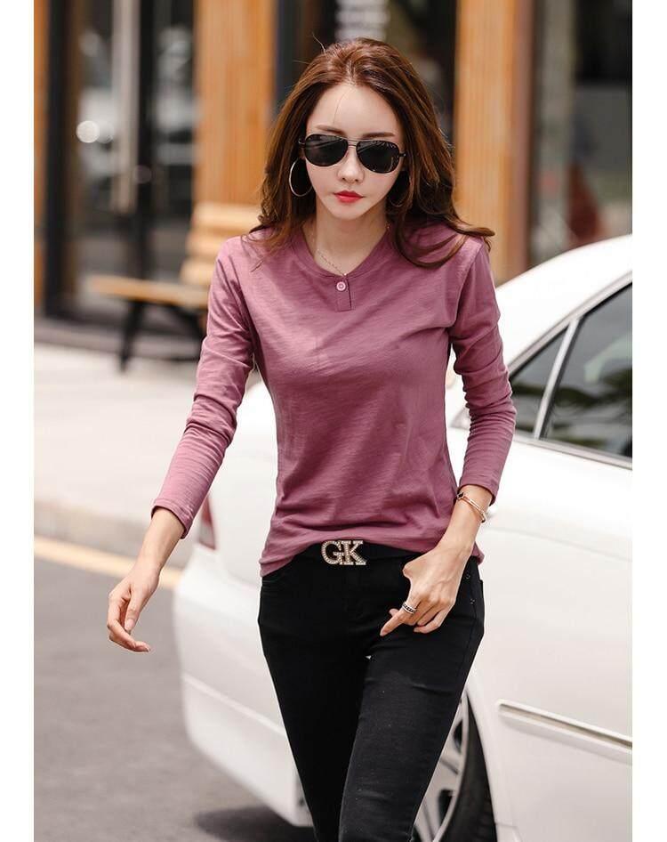 5fb0adb7058 Women 2018 Autumn Cotton Female T Shirts O-Neck Solid Striped Tops ...