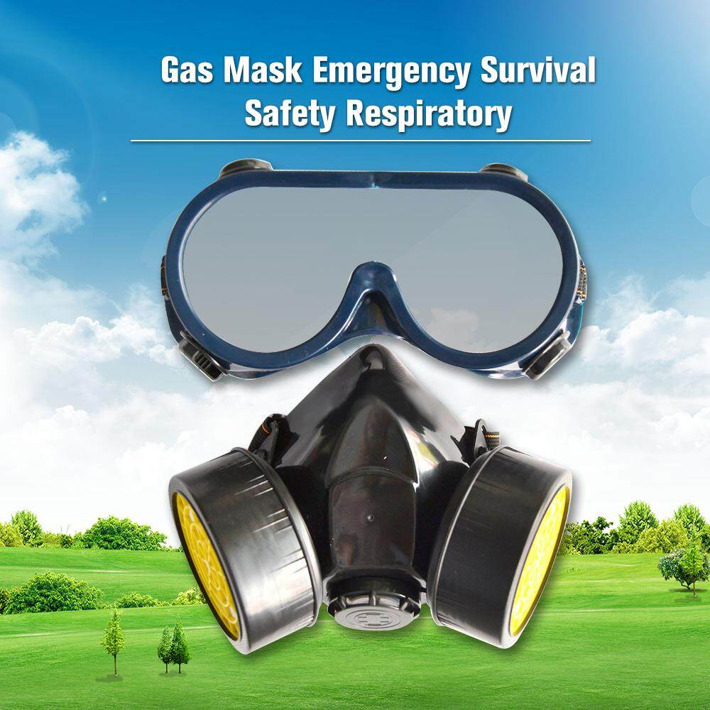 Gas Mask Emergency Survival Safety Respiratory Anti Dust Paint Respirator  Spraying Decorate Protective Mask with 2 Dual Protection Filter Built-in