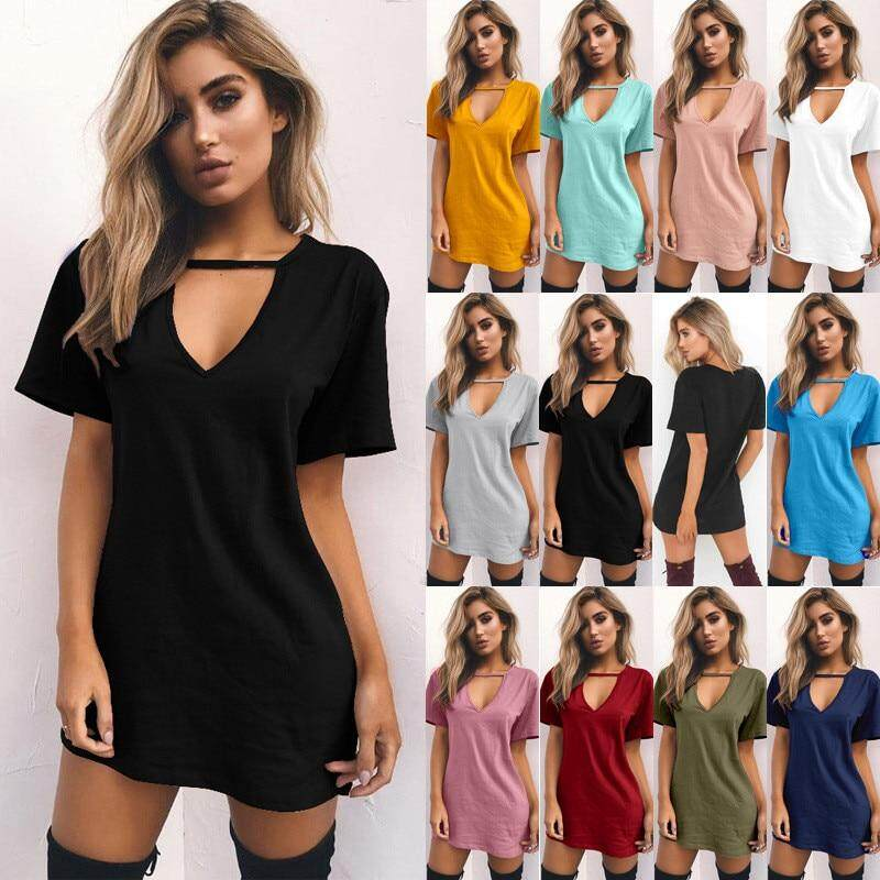 7e934e0ab02 ... Mini Sleeve Style::REGULAR Waistline::Natural Neckline::V-Neck Season:: Summer,Summer dress Model Number::6271 Size::S M L XL XXL 3XL  Pattern::Solid ...