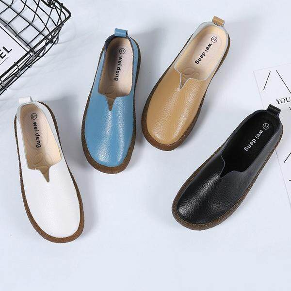 5c8b849937f Fashion Large Size Soft Leather Vintage Flat Boat Shoes Loafers For ...