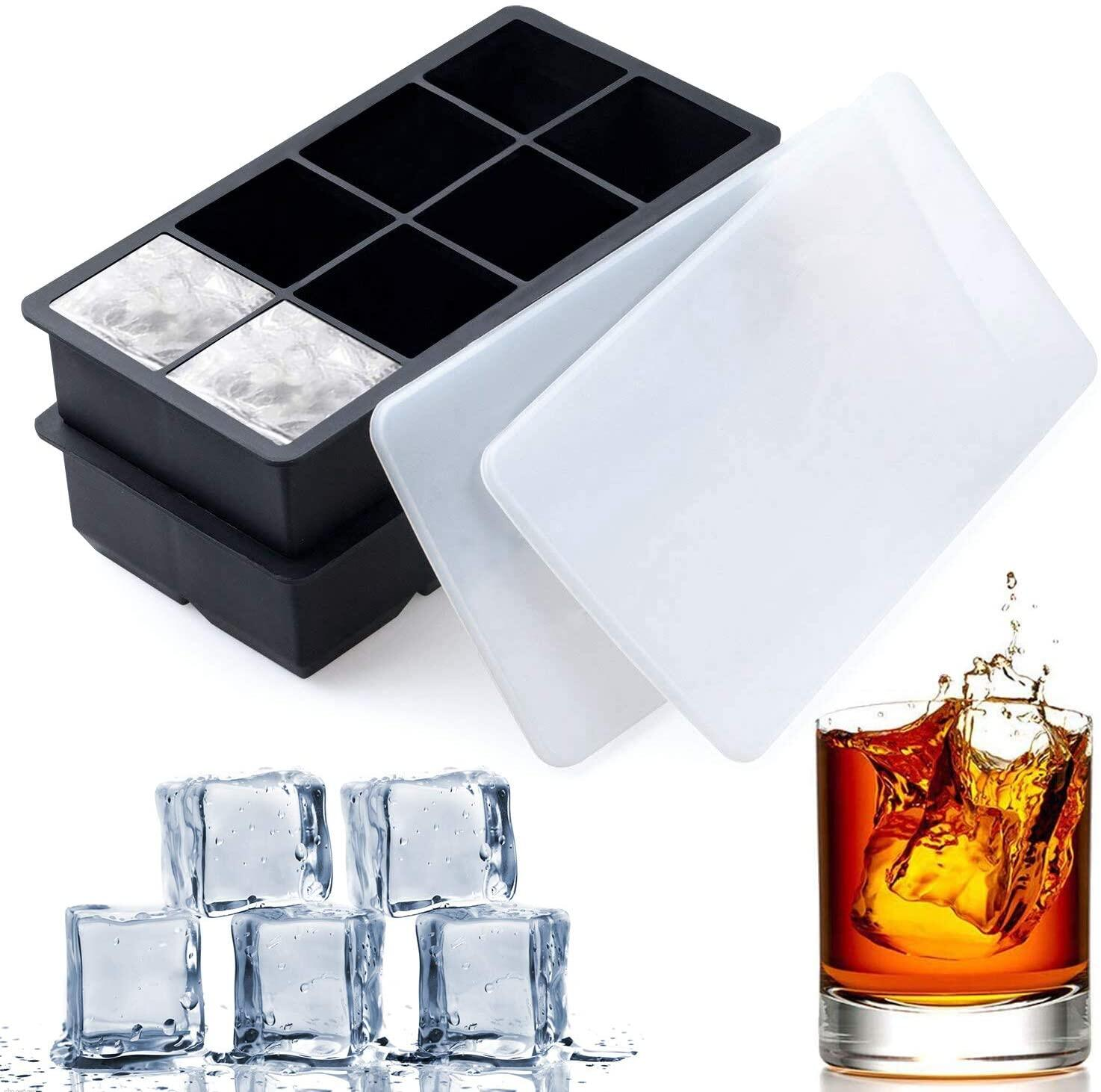Larger Cubes 8 Pack /& 2 Colors Stackable 14-Ice Tray with No Spill Cover Flexible and Reusable Ice Cube Trays Silicon With Lids BPA Free