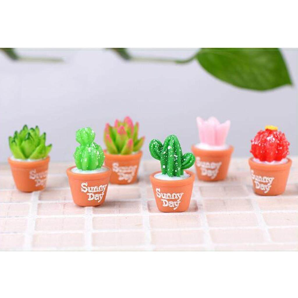 Dolity 6 Pcs Mini Tanaman Segar Tiruan Resin Lucu Kaktus Dengan Khusus Dapat Pot