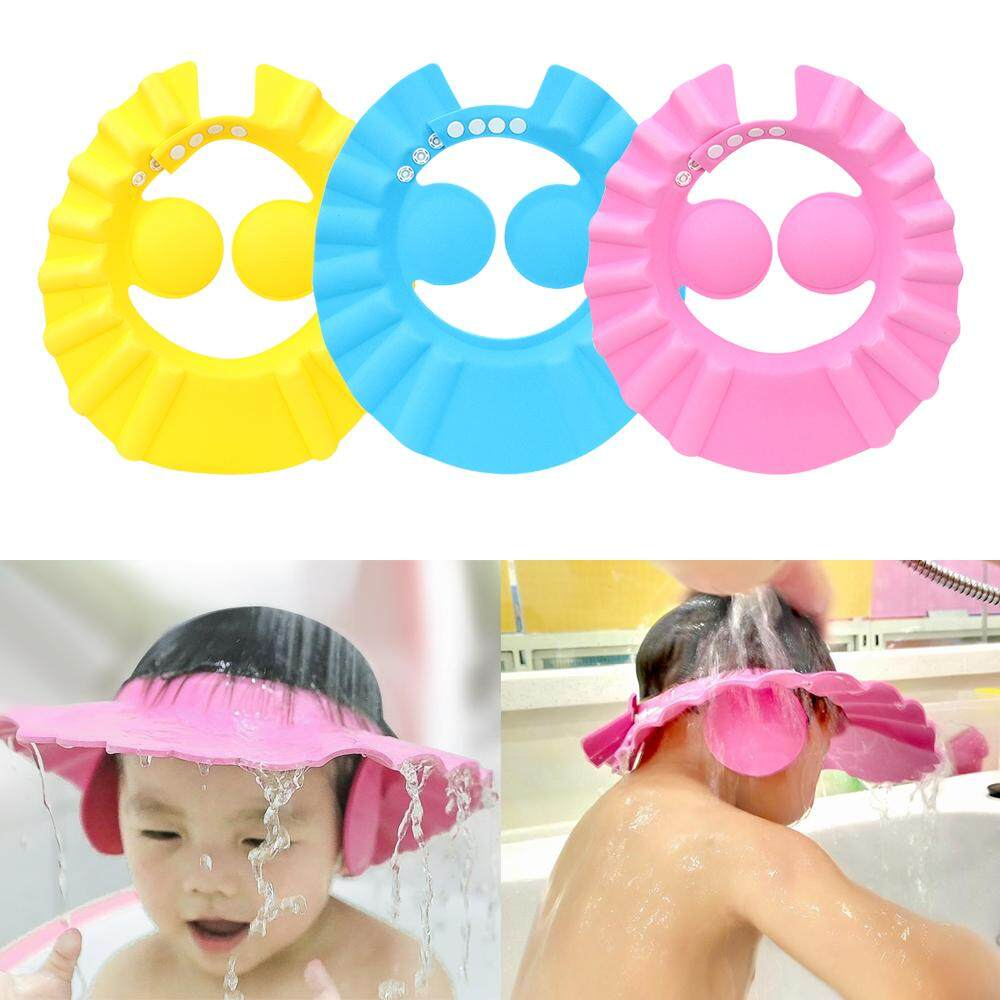 63da27190 Baby Shower Shield Hat Ears Protection Bath Wash Hair Cap Eye Cover  Adjustable Children Shampoo Cap