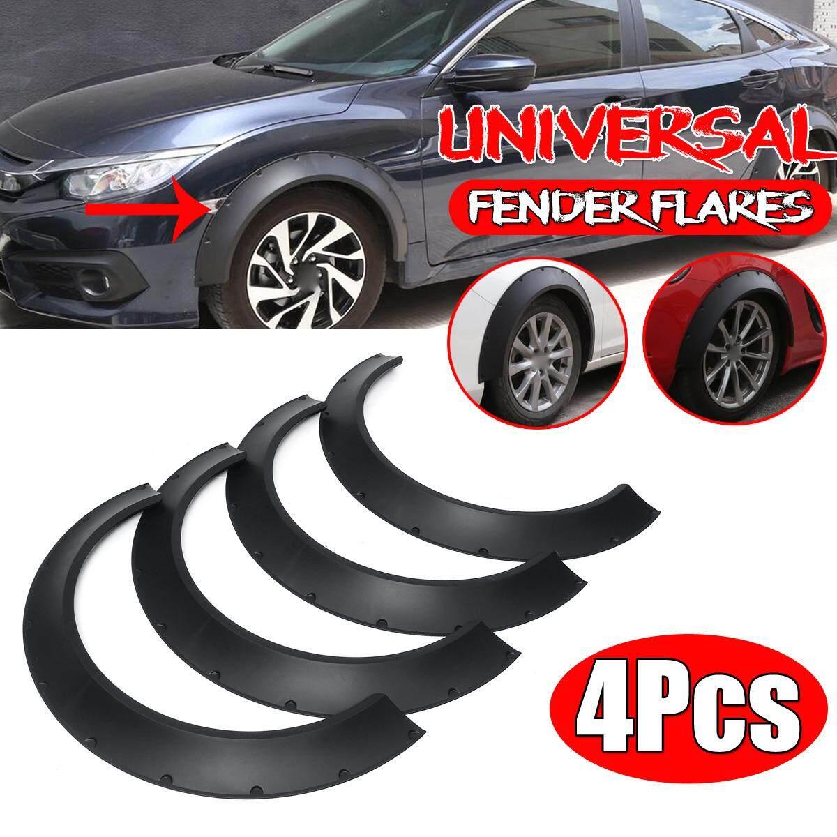 4PC Universal Black Flexible Durable Car Fender Flares Extra Wide Wheel Body Kit