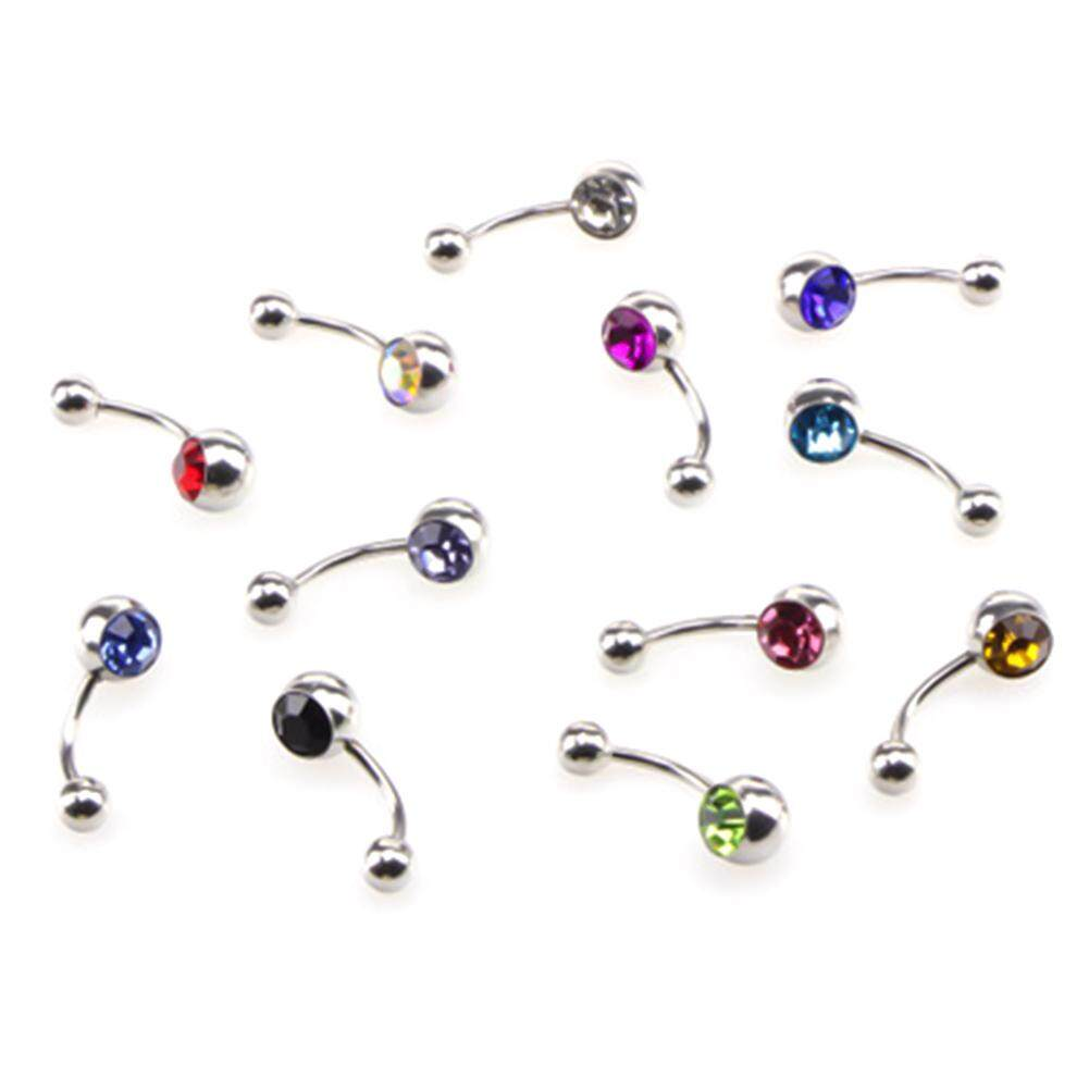 Meiyang 5 Pcs Rhinestones Anti Allergy Simple Lounger Titanium Belly Button Rings Navel Piercing 12 Colors