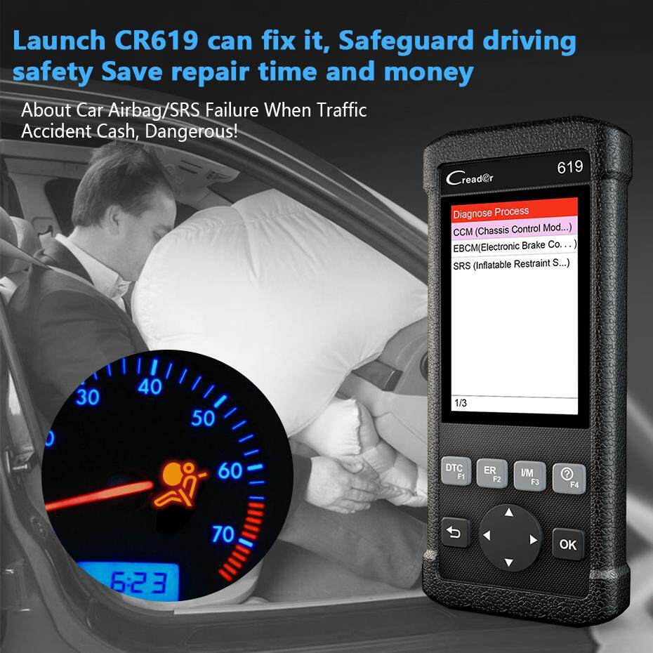 Launch CR619 OBD2 Scanner check Engine ABS SRS system code reader  diagnostic tool ODB2 Car Diangostic Tool Auto Automotive OBD 2 Scan tool