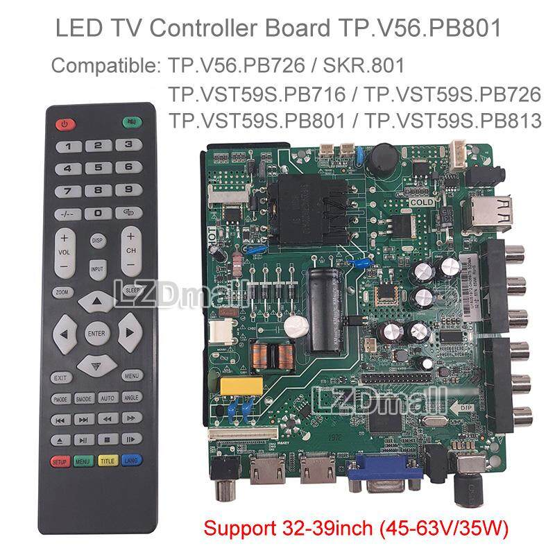 TP V56 PB801 LCD TV 3in1 Driver Board Universal LED Screen Controller Board  TV Motherboard Dual HDMI/VGA/AV/TV/USB Interface Can Replace TP V56 PB726