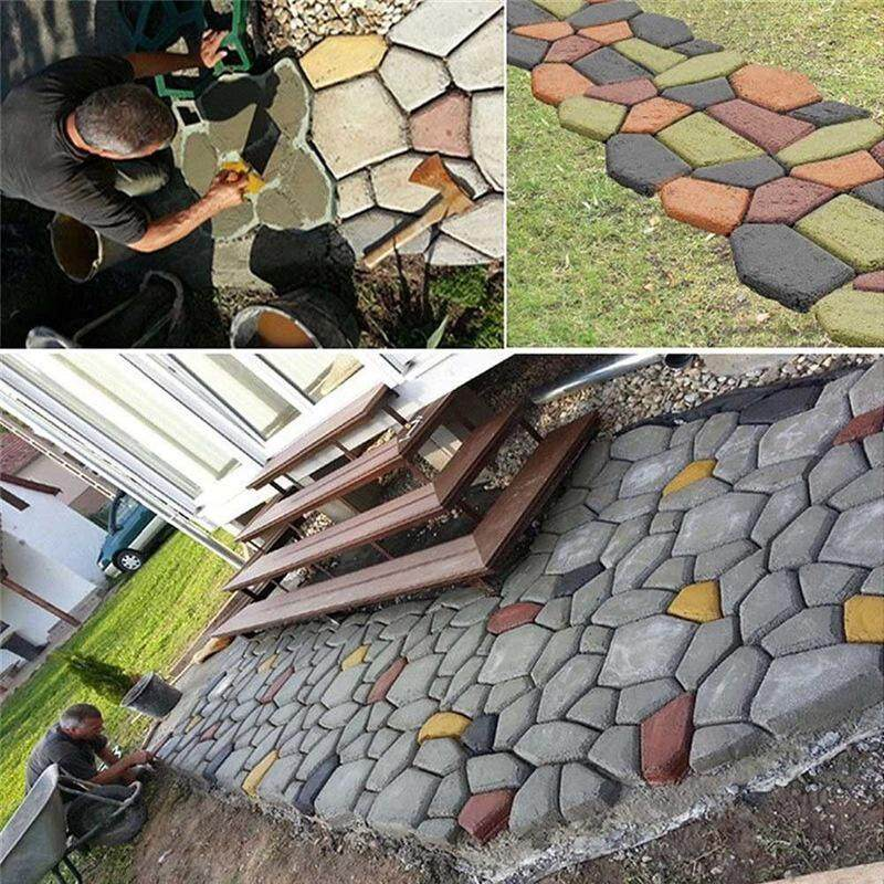 Treeone DIY Plastic Path Maker Mold Manually Paving Cement Brick Molds  Stone Road Concrete Molds Tool For Garden Pavement
