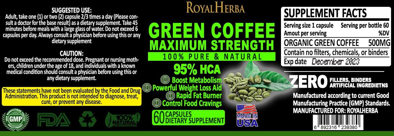 Green coffee pure maximum weight control
