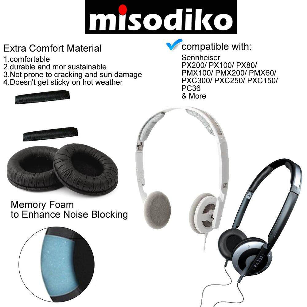25eb75b173b Specifications of misodiko Replacement Headband + Ear Pads Cushion Kit -  for Sennheiser PX200/ PX100/ PX80/ PMX100/ PMX200/ PMX60/ PXC300/ PXC250/  PXC150/ ...
