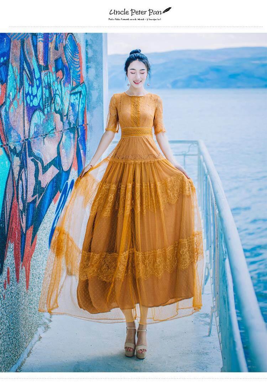 Gaun Elegan Renda Tipis Jahe Kuning Pesta Pernikahan Prom Makan Malam Koktail Maxi Panjang Musim Panas Gaun Wanita 1169