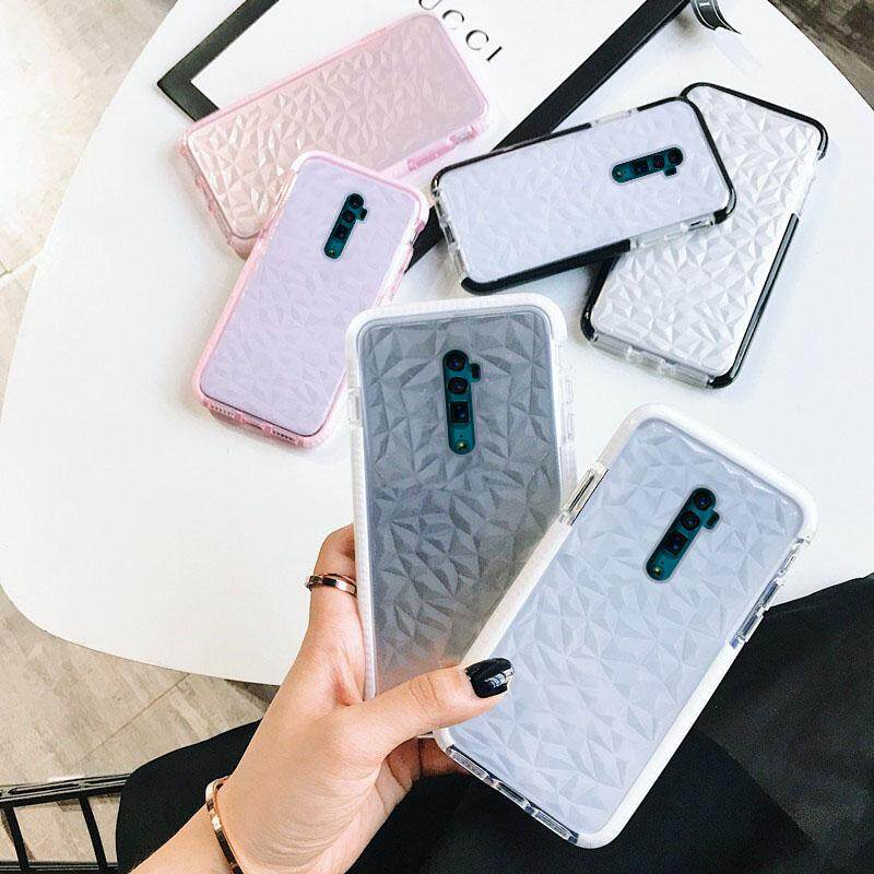 For OPPO Reno Shockproof Transparent Geometric Diamond TPU Clear Soft Phone  Case For OPPO Reno / Reno 10x Zoom Fashion Rhombus Back Cover