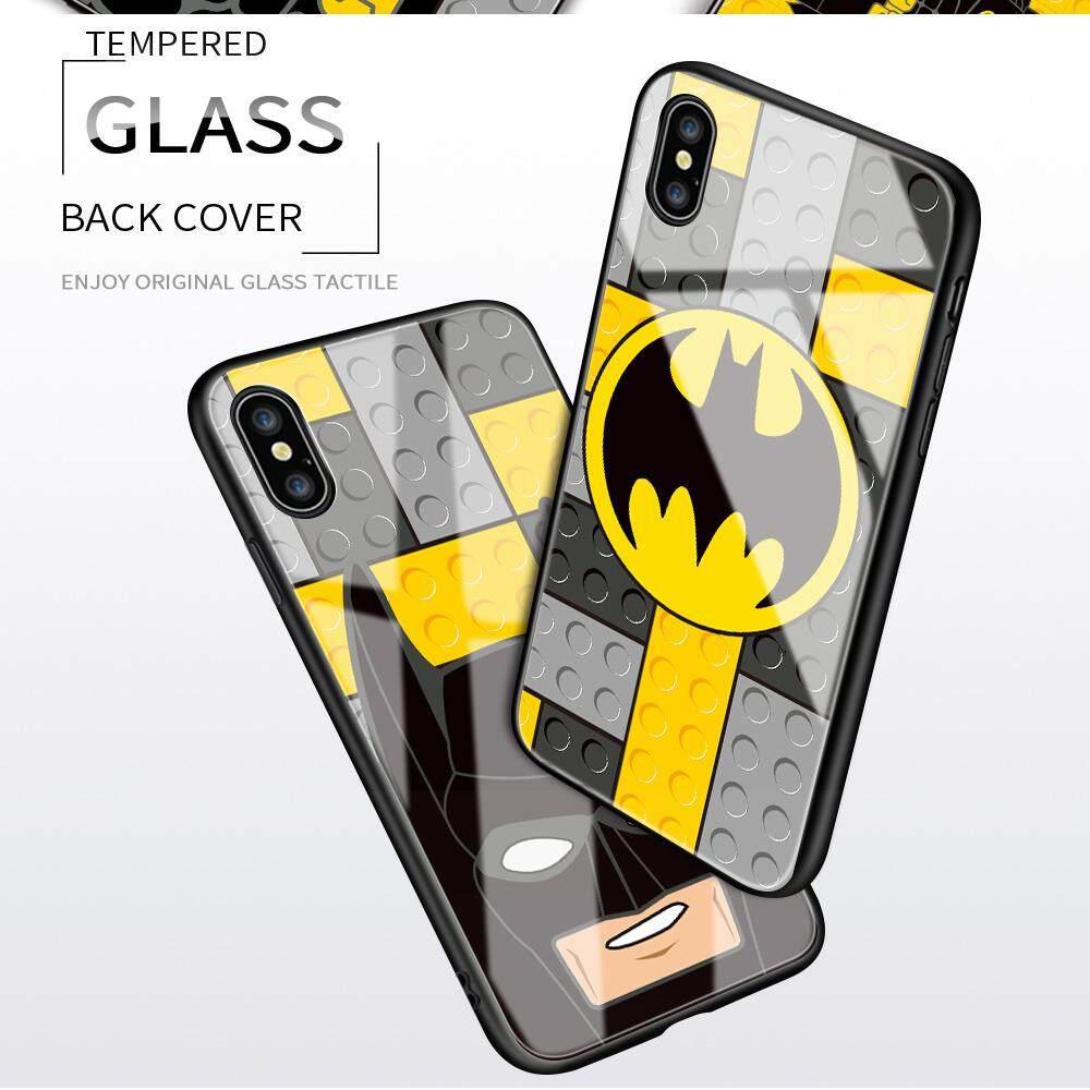 Untuk OPPO Realme Xt Lucu Kartun DIY Blok Kreatif Manusia Kelelawar Glossy Casing Tepi Yang Lembut Kaca Antigores Casing Ponsel