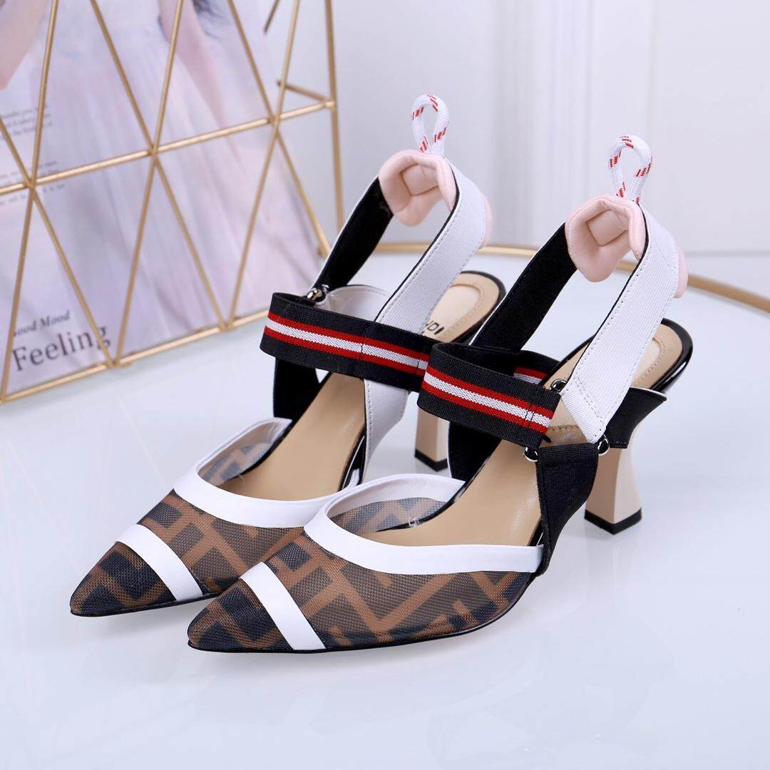 284f95cff95 2019 Fendi_new F letter mesh stitching pointed head Baotou high heel thick  with single buckle shoes sandals
