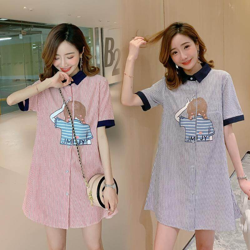84f26a2d40aad Specifications of 2019 Summer Fashion Korean Maternity Dresses Short Sleeve  Turn-down Collar Plus Size Loose Stripe Shirt Dress Pregnant Women Dress ...