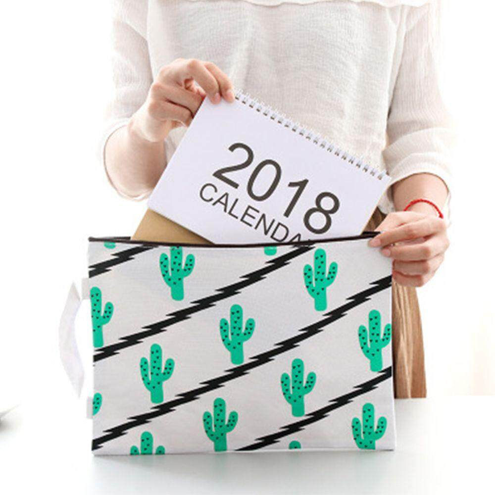 Cactus Printing A4 Zipper Canvas File Bag Filing Product Office Document Storage