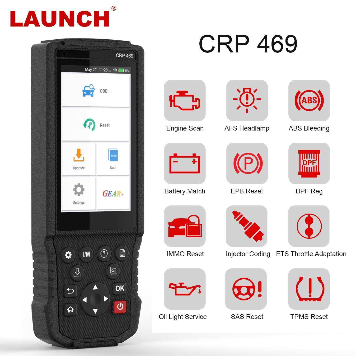 Launch CRP469 OBD2 scanner Car Diagnostic Tool Oil TPMS DPF SAS ABS BMS  EPBAFS RESTE Injector Coding/ Throttle Adaptation/Anti-Theft Matching Auto