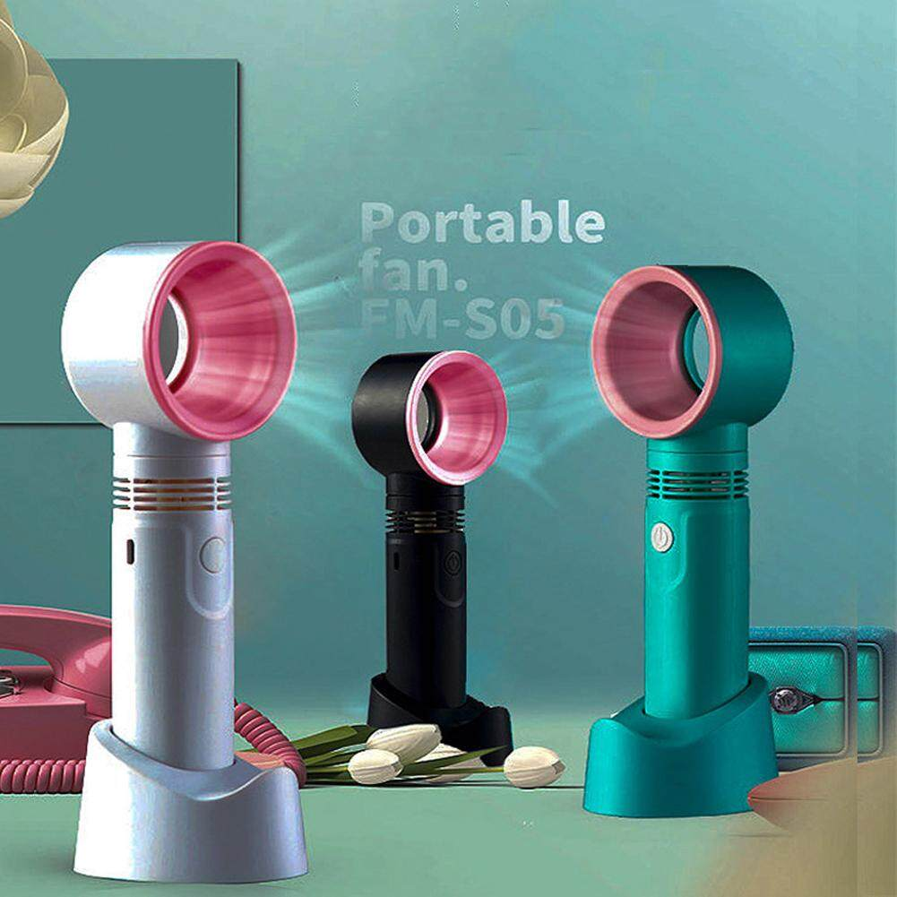 360° Portable Fan Cool Bladeless Hand Held Cooler Mini USB Cable No Leaf Handy