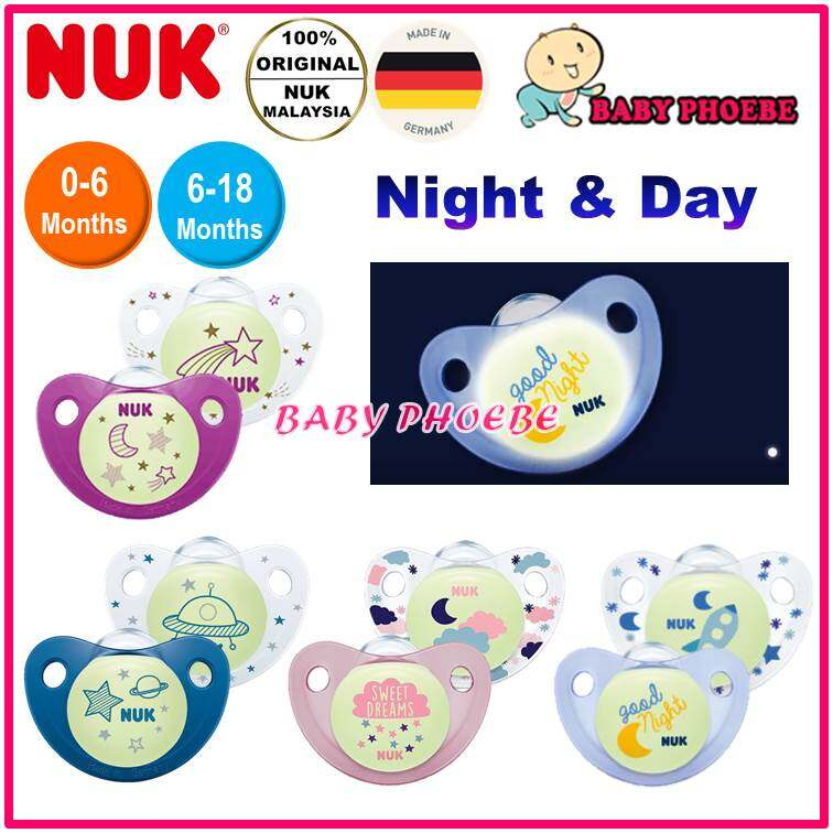 NUK Night and Day Baby Pacifier 6-18m Silicone Glows in the Dark Blue Good Night