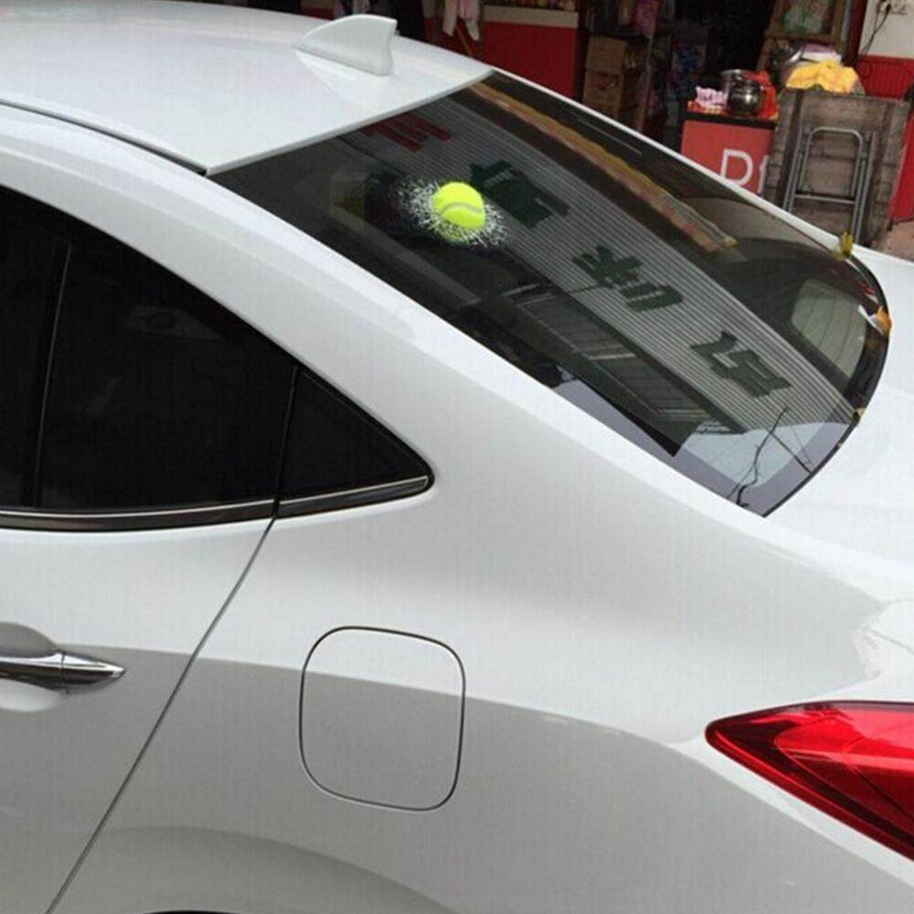 Tennis Cars Window was Broken by The Ball. 3-D Car Cool Stickers Interesting and Funny Design