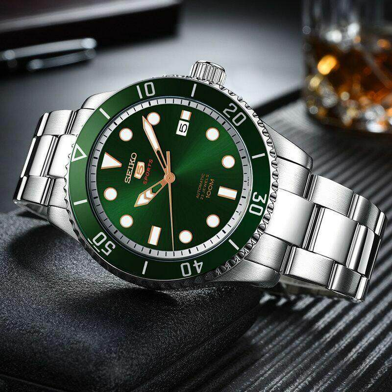Seiko 5 Sports Gents Srpb93k1 Automatic Green Sunray Dial Stainless Steel Watch