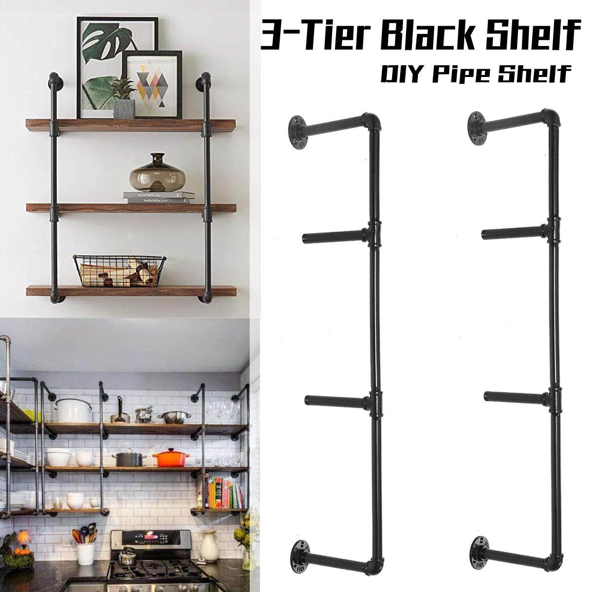 2pcs Rustic 3-Tier Industrial Wall-Mounted Iron Pipe Bracket DIY Bookshelf  Wall(tall 92cm,deep 24cm)