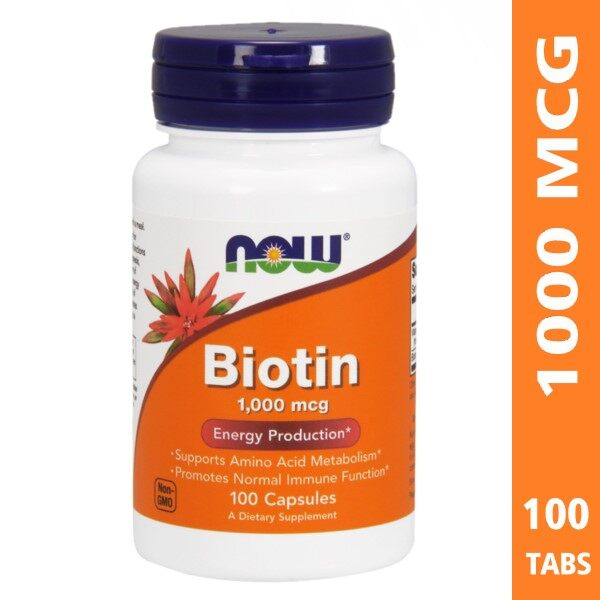 Now Biotin 1000mcg, 100 Capsules, Support Healthy Hair & Nails