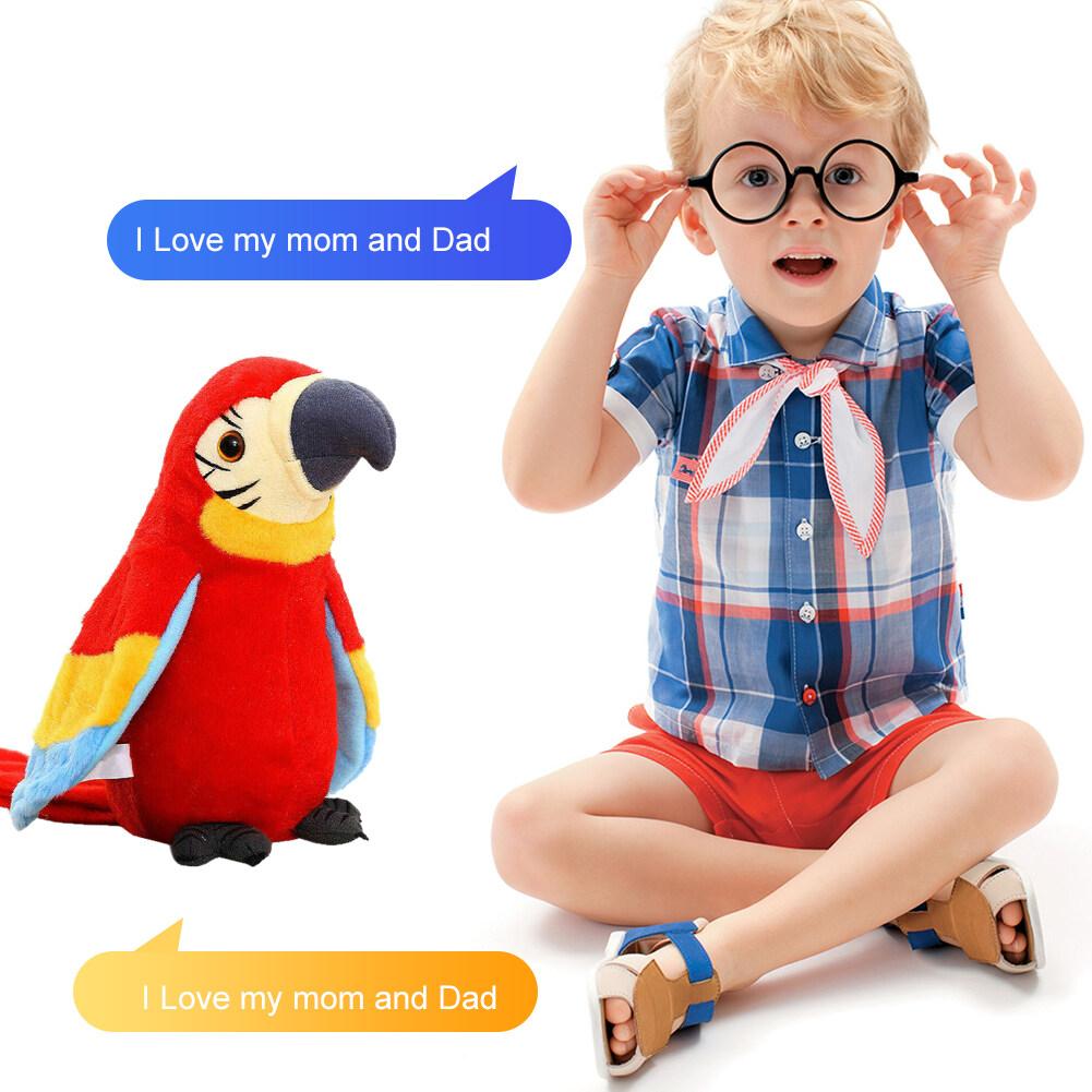 GL 【Ready】 Listrik Berbicara Burung Beo Mewah Burung Kartun Lucu Mainan Suara Rekaman Anak Anak Pendidikan Mudah Dioperasikan