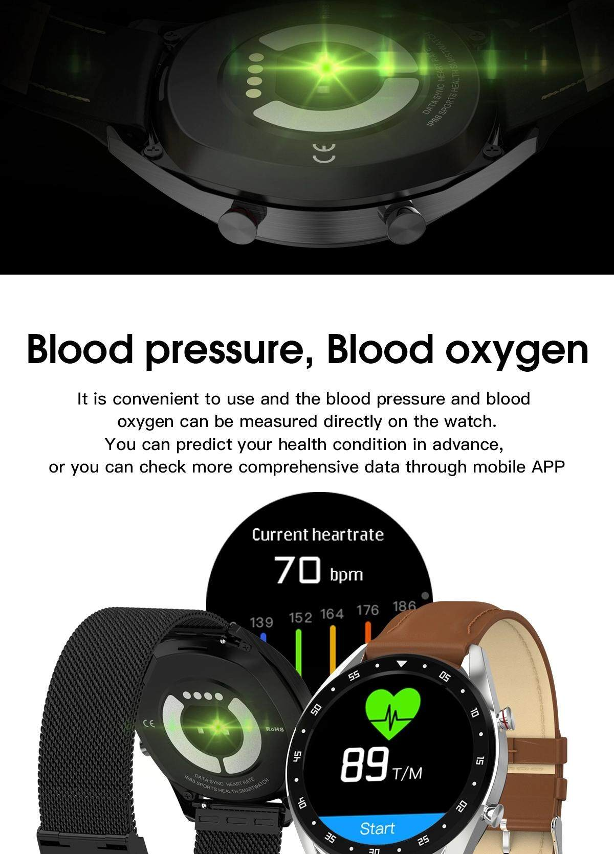 2019 Newest L7 Smart Watch Swimming Sports SmartWatch with Blood pressure Oxygen Function